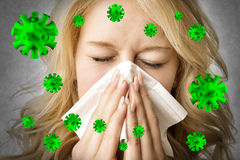 Ill woman with tissue is sneezing virus Royalty Free Stock Image