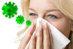 Ill woman with tissue is sneezing virus Royalty Free Stock Photography