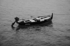 Small fishing boats, anchored in Galicia Spain