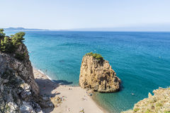 Illa Roja beach in Costa Brava, Catalonia, Spain. Girona, Spain - July 1, 2015: Panorama of Illa Roja beach with the Medes Islands in the background in Costa Royalty Free Stock Photos