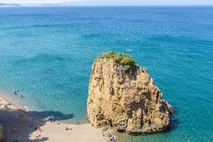 Illa Roja beach in Costa Brava, Catalonia, Spain. Girona, Spain - July 1, 2015: Panorama of Illa Roja beach with the Medes Islands in the background in Costa Stock Photography