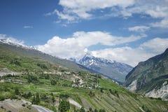 小illage和绿色领域在山 免版税库存照片