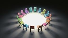 Illavarslande cirkel av färgrika stolar i dramatiskt ljus royaltyfri illustrationer
