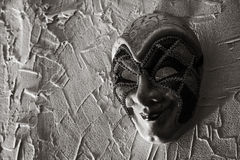 Illavarslande jokermaskering svart white royaltyfri fotografi