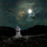Illavarslande mörk natt i det dunkla månskenet royaltyfria bilder