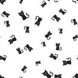 Illavarslande sömlös kattallhelgonaaftonmodell stock illustrationer