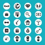 Illegal Activities Icons. Black and White Illegal Activities Icons Isolated on Blue Green Background Royalty Free Stock Images