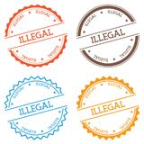 Illegal badge isolated on white background. Flat style round label with text. Circular emblem vector illustration Stock Photos