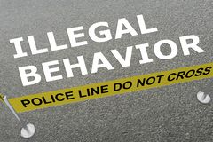 ILLEGAL BEHAVIOR concept. 3D illustration of ILLEGAL BEHAVIOR title on the ground in a ice arena stock illustration