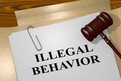ILLEGAL BEHAVIOR concept. 3D illustration of ILLEGAL BEHAVIOR title on legal document stock illustration