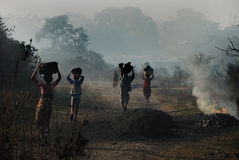 Illegal Coal Pikers. 29 January 2013,Jharia,Jharkhand,India,Asia-Regardless of gender and age, poverty pushes them to pick up coals. Thus, it is not difficult to Royalty Free Stock Images