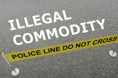 Illegal Commodity concept. 3D illustration of ILLEGAL COMMODITY title on the ground in a police arena Stock Photography