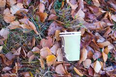 Illegal discarded coffee mug stock photo