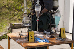 Illegal drug lab. Illegal meth lab found in the police raid royalty free stock photography