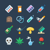 Illegal drug tablets, alcohol addiction, methamphetamine abuse vector flat icons Royalty Free Stock Images