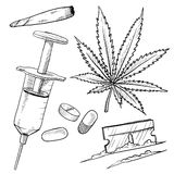 Illegal drugs drawing Royalty Free Stock Photography