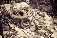 Illegal dumping. Education and rudeness concept - toned image Royalty Free Stock Images