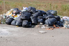 Illegal dumping ground. With many black trash bags and waste Royalty Free Stock Images