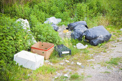 Illegal dumping in the nature. Garbage bags and boxes left in the nature royalty free stock images