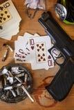 Illegal Gambling Den. Card Game - Illegal gambling den Stock Images