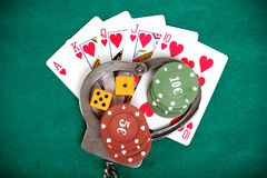 Illegal gambling punishable by law. Background royalty free stock photography
