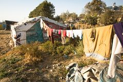 Illegal houses at slums in Tripureshwor district, Kathmandu. Royalty Free Stock Photos