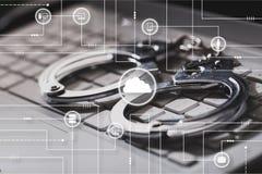 Illegal. Crime handcuff download digital information internet stock image