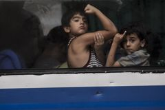 ILLEGAL IMMIGRANT BOY. Two illegal immigrant boy from Middle East that were arrested by Indonesian officials, after they illegally entered Indonesia on the way royalty free stock photos
