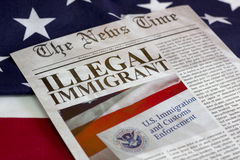 Illegal immigrant headline. Illegal immigrant on the news paper headline Stock Image