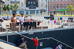 Illegal Immigrants camping at the Keleti Trainstation in Budapes Stock Photography