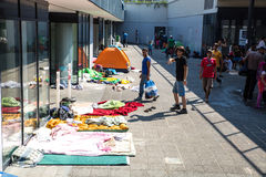 Illegal Immigrants camping at the Keleti Trainstation in Budapes Royalty Free Stock Image