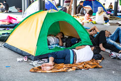 Illegal Immigrants camping at the Keleti Trainstation in Budapes Stock Images