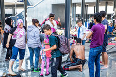 Illegal Immigrants camping at the Keleti Trainstation in Budapes Stock Photos