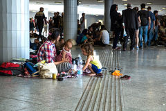 Illegal Immigrants camping at the Keleti Trainstation in Budapes Royalty Free Stock Images