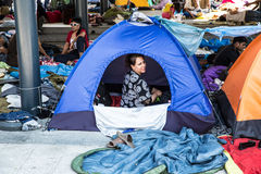 Illegal Immigrants camping at the Keleti Trainstation in Budapes Royalty Free Stock Photo