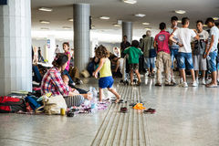 Illegal Immigrants camping at the Keleti Trainstation in Budapes Royalty Free Stock Photos