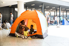 Illegal Immigrants camping at the Keleti Trainstation in Budapes Stock Photo