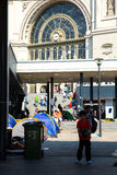 Illegal Immigrants camping at the Keleti Trainstation in Budapes Stock Image