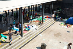 Illegal Immigrants camping at the Keleti Trainstation in Budapes Royalty Free Stock Photography