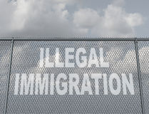 Illegal Immigration. Concept as a chain fence with a hole shaped as text that represents people illegally crossing a national border violating the migration law vector illustration