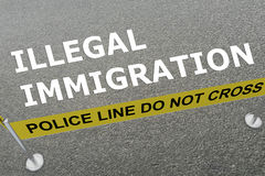 Illegal Immigration concept. 3D illustration of ILLEGAL IMMIGRATION title on the ground in a police arena Stock Image