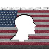 Illegal Immigration United States. Illegal immigration in the United States as a refugee crisis concept with a hole in a border wall with a US flag as a social Royalty Free Stock Photography