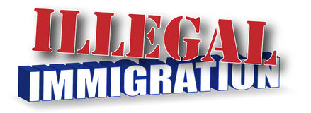 Illegal Immigration. The words Illegal Immigration in a red white and blue 3D design royalty free illustration