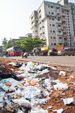 Illegal landfill in a city Stock Photo