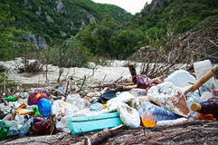 Illegal landfill near River Stock Photography