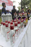 Illegal liquor. Police seized illegal liquor during a raid in the city of Solo, Central Java, Indonesia Royalty Free Stock Photography