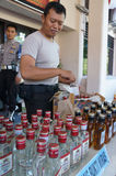 Illegal liquor. Police seized illegal liquor in a raid to suppress crime in the city of Solo, Central Java, Indonesia Stock Photography