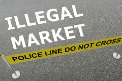 Illegal Market concept. 3D illustration of ILLEGAL MARKET title on the ground in a police arena Royalty Free Stock Photo