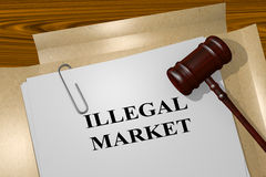 Illegal Market - legal concept. 3D illustration of ILLEGAL MARKET title on legal document Stock Image