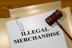 Illegal Merchandise - legal concept. 3D illustration of ILLEGAL MERCHANDISE title on legal document Royalty Free Stock Photo